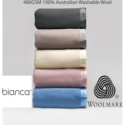 Bianca 480GSM 100% Australian Washable Wool Blanket in All Sizes