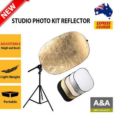 NEW Studio Photo Kit Reflector Bracket Arm + Light Stand + 5in1 60x90cm Bouncer
