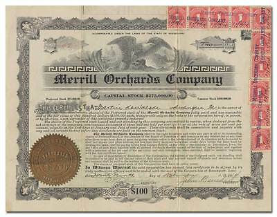 Merrill Orchards Company Stock Certificate (Mississippi)