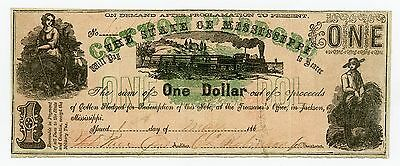 1862 Cr.22 $1 The State of MISSISSIPPI Note - CIVIL WAR Era w/ TRAIN