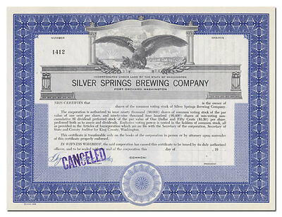 Silver Spring Brewing Company Stock Certificate (Port Orchard, Washington)