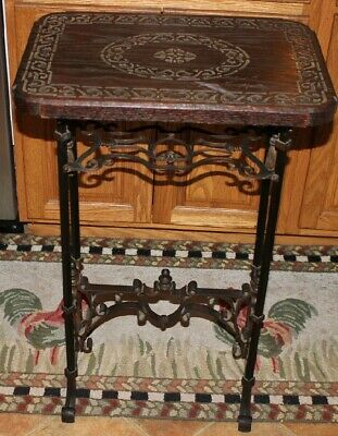 Antique Victorian Gothic Bible Religious Sewing Table Stand-Iron Metal & Wood