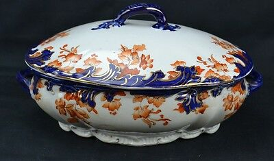 Ridgways Flow Blue Oval Covered Tureen Rust Covered Flowers