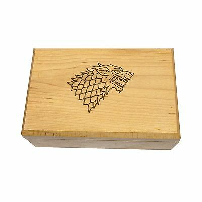 Game of Thrones House Stark Handcrafted Artisanal Woodburned Wood Box Geekwood