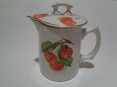 Vintage Edwin M. Knowles China Co Semi Vitreous Pitcher with Lid Cherries