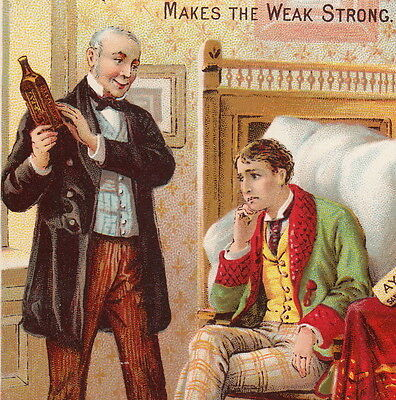 Dr Ayers Sarsaparilla Blood Cure College Boy Makes the Weak Strong Ad Trade Card