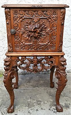 Antique Carved Figural ANGEL & DEVIL French Walnut Marble Top Nightstand Table