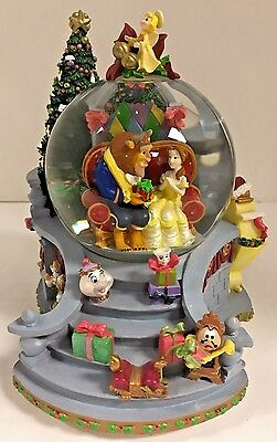 Disney Beauty & Beast Snowglobe I'll Be Home Christmas Tree Gifts Stairs Music