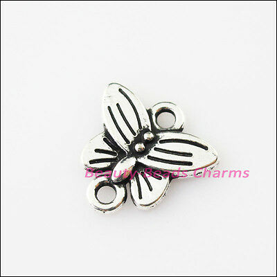 10Pcs Antiqued Silver Tone Animal Tiny Butterfly Charms Pendants Connectors 14mm