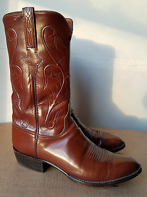 Mens Lucchese Handmade Brown Goatskin Leather Cowboy Boots Shoes 11 D USA