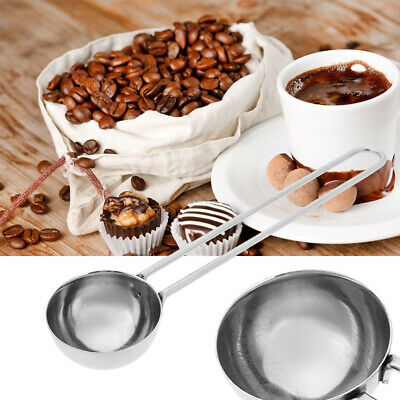 Stainless Steel Coffee Milk Powder Tea Ground Measuring Scoop Spoon Cup Handle