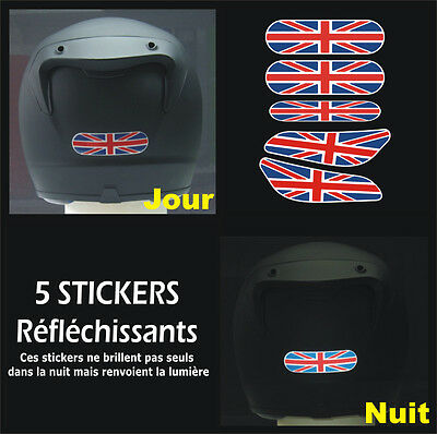 5 Stickers REFLECHISSANTS pour CASQUE - Union-Jack Triumph Street Speed Triple