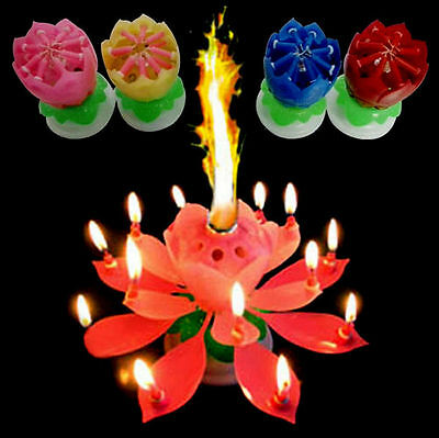 SUP Birthday Magical Amazing Blossom Lotus Musical Rotating Candle Flower Light
