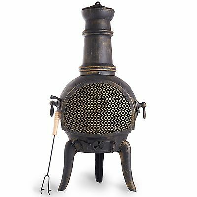 VonHaus Cast Iron Chiminea - Black Outdoor Garden Patio Heater