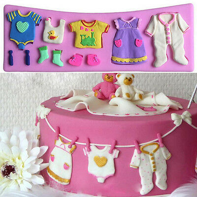 BABY SHOWER BABY CLOTHES  Party 3D Silicone Mould Fondant Cake Decorating Topper