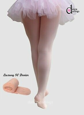 36fbbb858d2f6 Professional 80 Denier Girl s Kids Pink Ballet Dance Tights FULL FOOT
