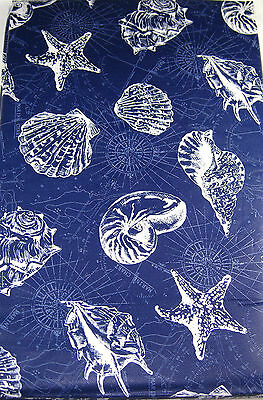 Sea Shells Vinyl Tablecloth Navy Easy Care Assorted Sizes Square, Oblong & Round