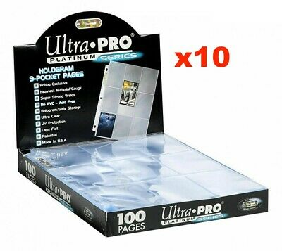 Ultra Pro Platinum Trading Card 9 Pocket Sleeves X 10 Pages Mtg Nrl Yugioh Mtg