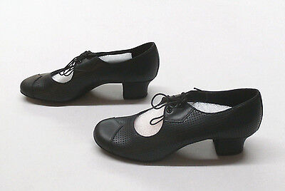 Eckse Women's Daniela Perforated Leather Practice Dance Shoes Black Size 8 Wide