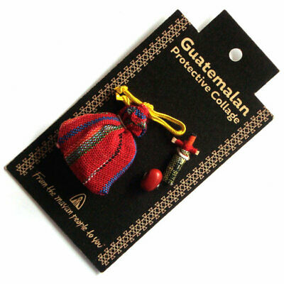 Guatemalan PROTECTIVE TALISMAN with Worry Doll and Lucky Bean - ORANGE