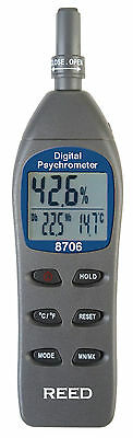 REED 8706 Digital Psychrometer/Thermo-Hygrometer, Wet Bulb, Dew Point.