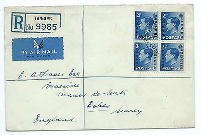 MOROCCO AGENCIES: Registered Airmailcover to GB, Tangier 1937.