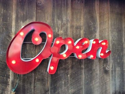 Large Retro Metal Marquee Sign - OPEN- Smokey Red -