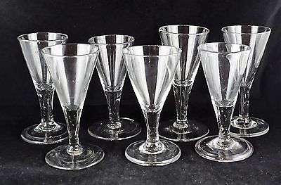 Seven Antique Early Glass Wine Goblets - Trumpet Bowls