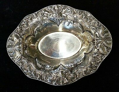 Antique Sterling Silver Candy Dish ~~  Beautiful Floral  Design!