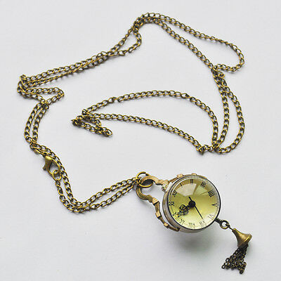 New Vintage Style Glass Ball Steampunk Pocket Watch Antique Brass Necklace T8Y8
