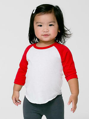 American Apparel 3/4 Raglan Sleeve T Shirts Tee Unisex Infant Red White Infant