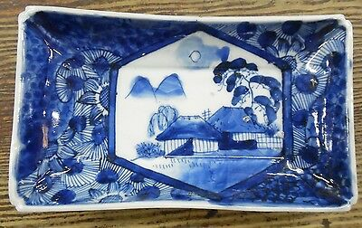 ANTQ 19th Century Japanese Imari Blue & White Porcelain Dish 7 3/4 x 4 1/2