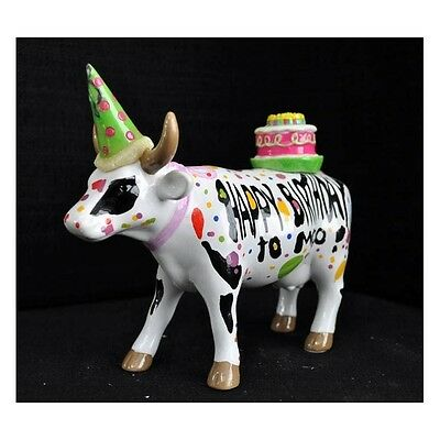 """New COW PARADE Large Figurine HAPPY BIRTHDAY TO MOO Artist Statue 6""""x5""""x2"""" 2003"""