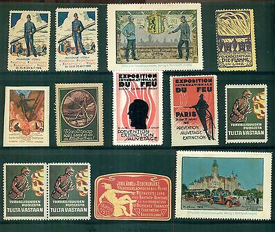 1890's-1930's Worldwide Firefighting & Related Poster Stamps Group of 55
