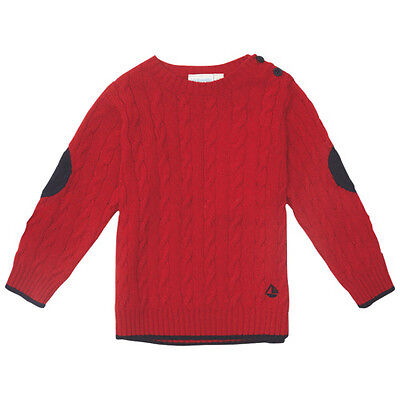 NWT! Jojo Maman Bebe red cable knit wool blend extra soft sweater - 4-5 years