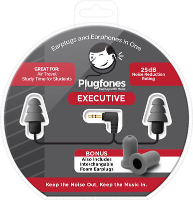 NEW Plugfones Executive Gray Ear Plug Earbuds Headphones Hearing Protection EX-1