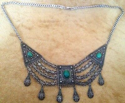 Stunning Israel Tribal 925 Sterling Silver Filigree Eilat Stone Necklace