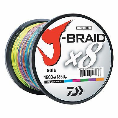 Daiwa J-BRAID Braided MULTI-COLOR Line 80lb 1650yd 1500 Meter 80-1500MU