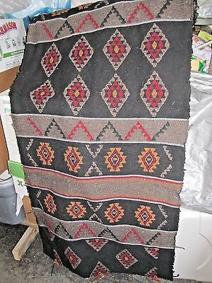 Multi-Color Hand Loomed Wool Yard Goods Fabric from Nepal Black, Red, Orange