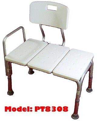 MedMobile® BATHTUB TRANSFER BENCH / BATH CHAIR WITH BACK, WIDE SEAT, ADJUSTABLE