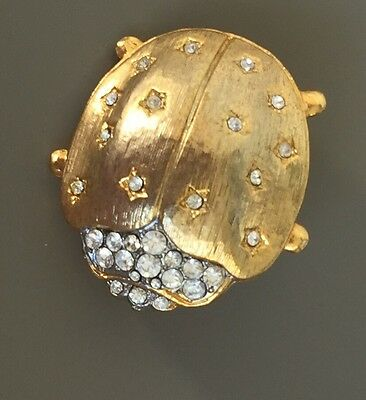 Adorable Vintage Large Ladybug Brooch  In Gold  Gold Tone Metal With Crystals.