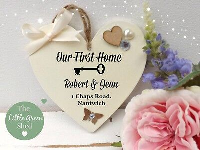 Our First Home Plaque Hanging Sign House Warming Gift Personalised Address