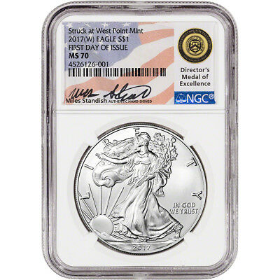 2017-(W) American Silver Eagle - NGC MS70 - First Day of Issue - Standish