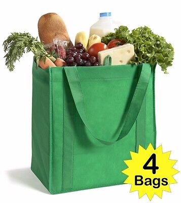 4 XL 13x15x10 REUSABLE RECYCLE ECO FRIENDLY GROCERY SHOPPING TOTE BAG LOT SET A2