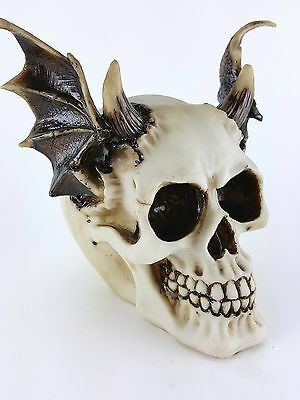 Collectible HORNED SKULL WITH DEMON WINGS Handpainted Resin Statue DEVIL