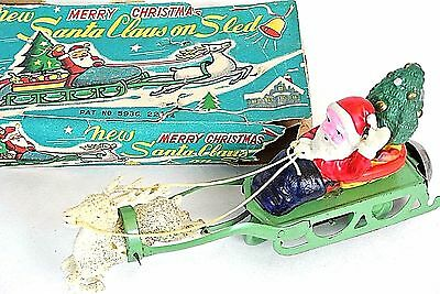 VTG JAPAN Santa Claus on Sleigh Windup Toy w/reindeer Celluloid Christmas *1010
