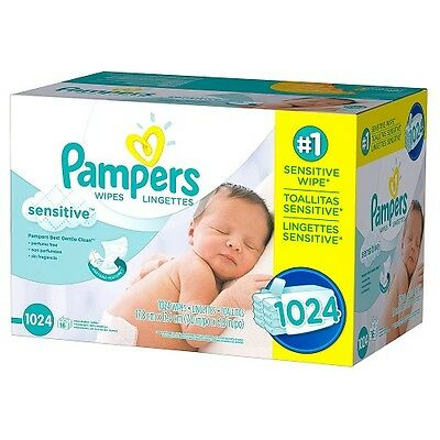 Pampers Sensitive Baby Wipes 1024 Count Hypoallergenic Perfume Free Diaper Clean