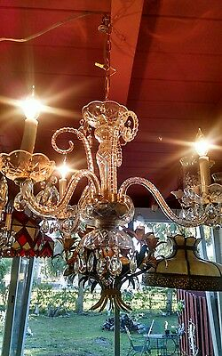 Antique Vintage 3 arm Crystal Chandelier with 3 curved art glass arms