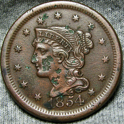 1854 Braided Hair Large Cent Penny    ----  Nice Details Spots ---- #R938