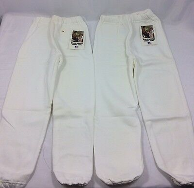 Vintage White Youth Small Sweatpants Lot of 2 NWT Russell Athletic Made in USA